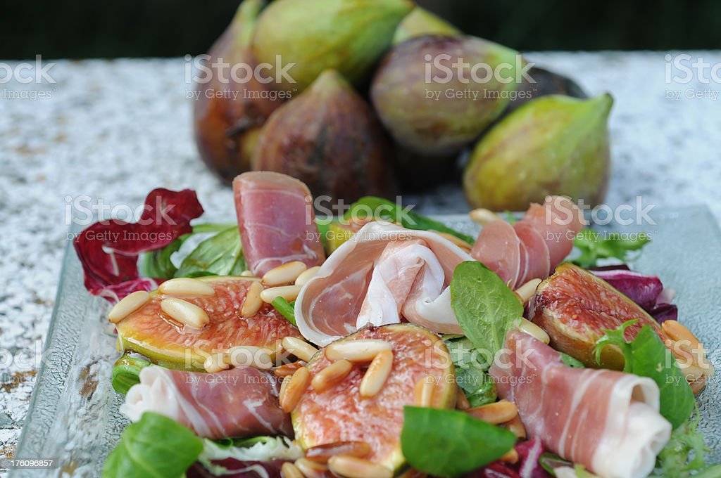 Fig Prosciutto and Pine Nut Salad royalty-free stock photo