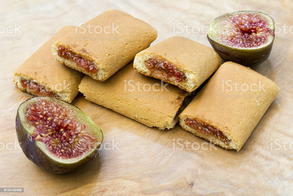 Fig roll biscuit stock photo