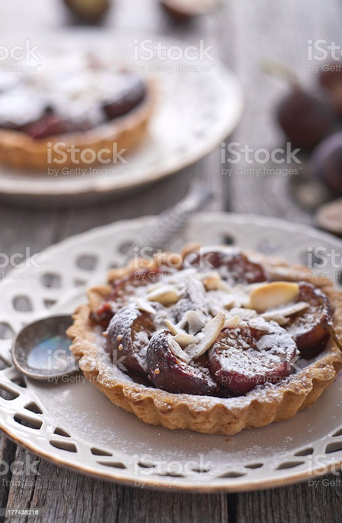Fig tart with almonds and sugar stock photo