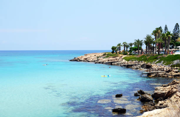 fig tree bay beach, protaras, cyprus - bay of water stock pictures, royalty-free photos & images