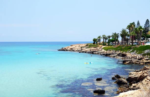 fig tree bay beach, protaras, cyprus - cyprus стоковые фото и изображения
