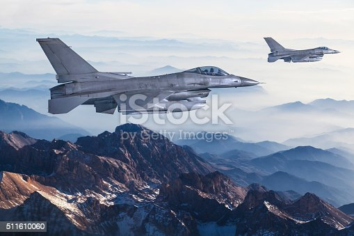 Figher jets flying over the mountains
