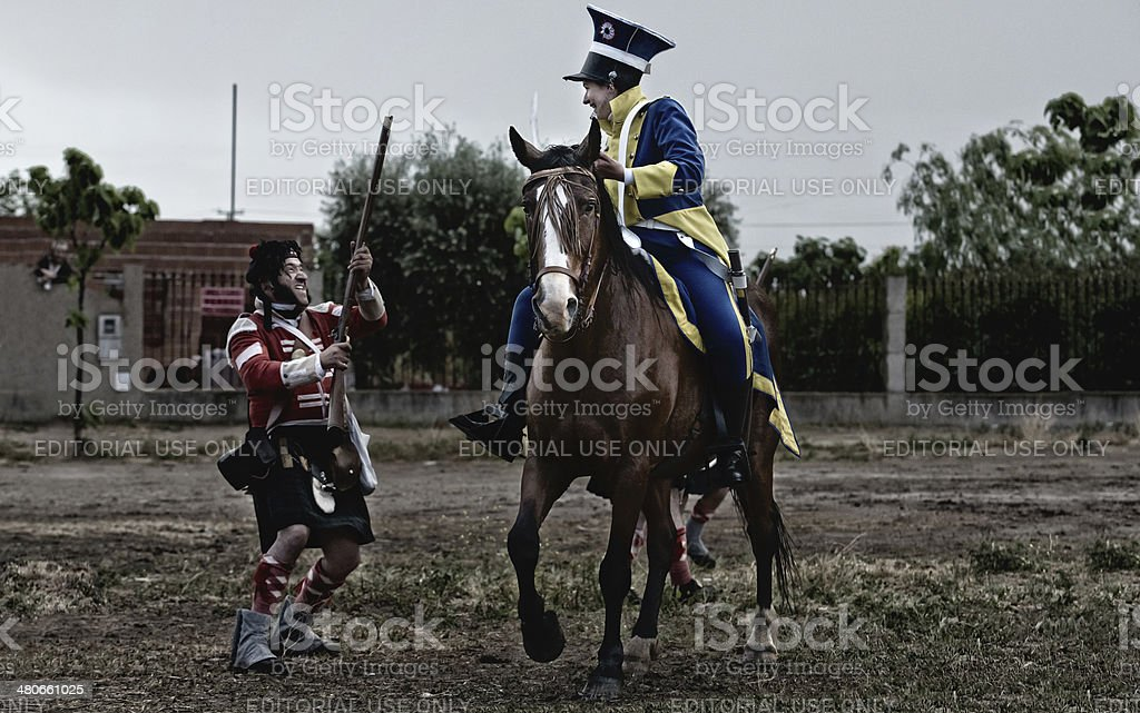 Fight against the cavalry royalty-free stock photo