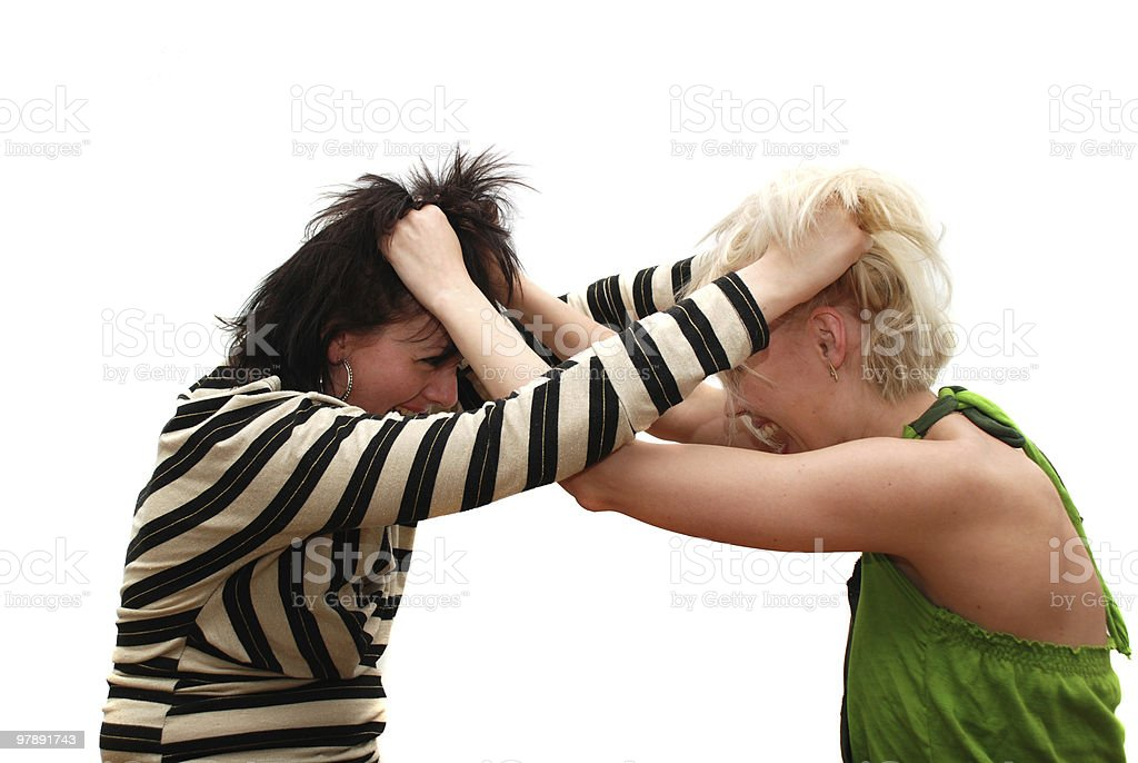 fight blondes and brunettes royalty-free stock photo