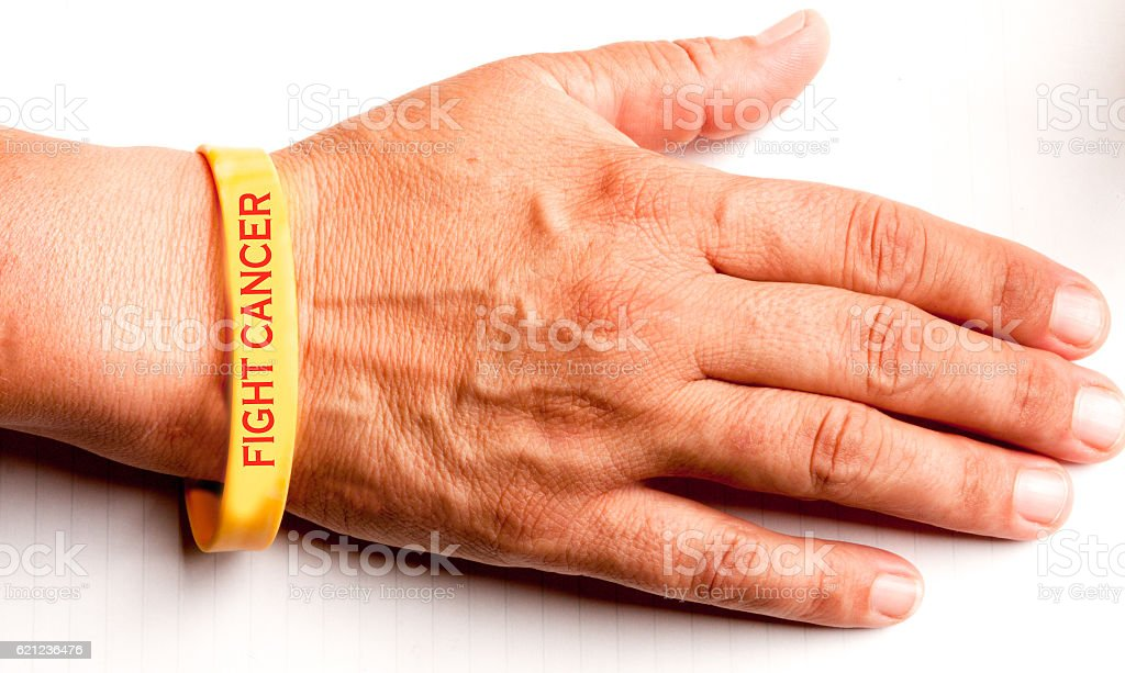 Fight Cancer Wrist Band stock photo