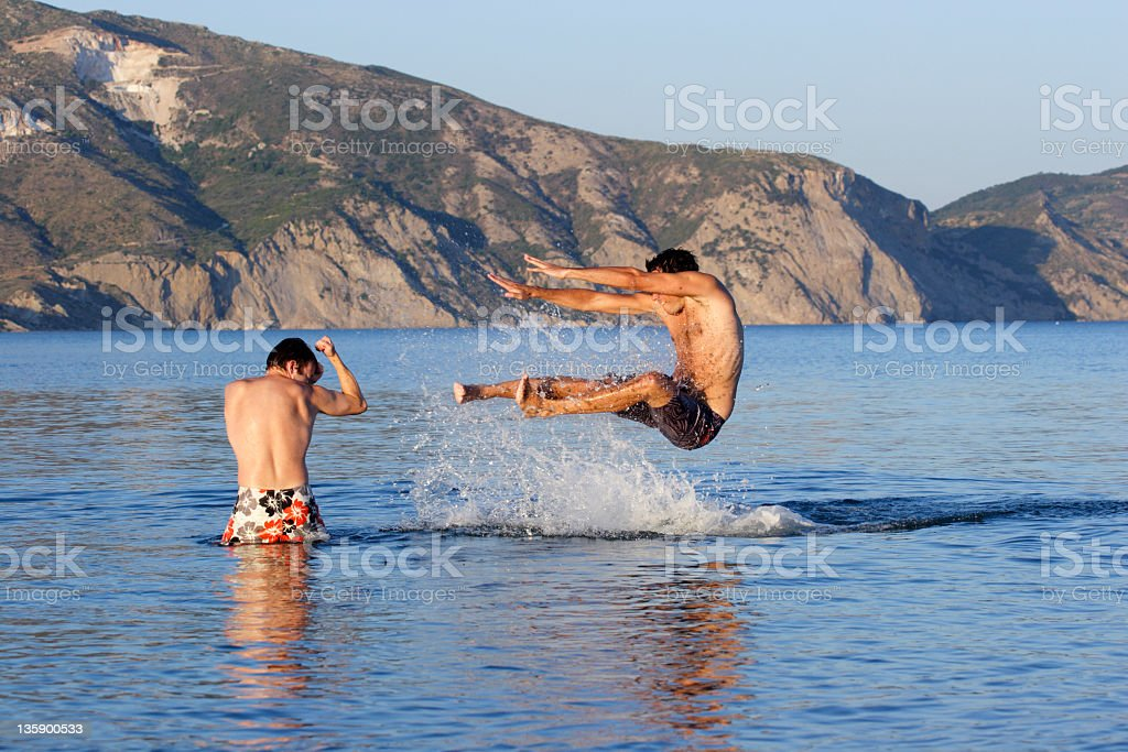 Fight in the water royalty-free stock photo