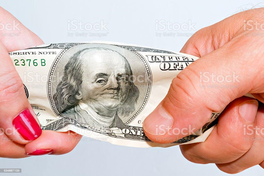 Fight over money C stock photo