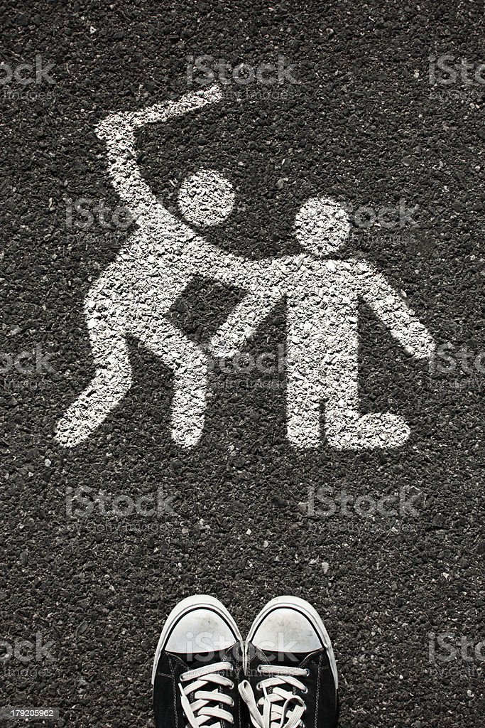 Fight people symbol sign and shoe royalty-free stock photo