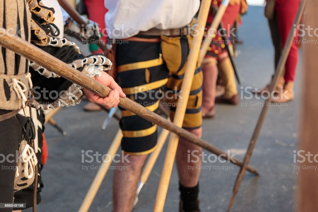 Fight with Medieval European Spears, Pole Weapons: Shafts and Po stock photo