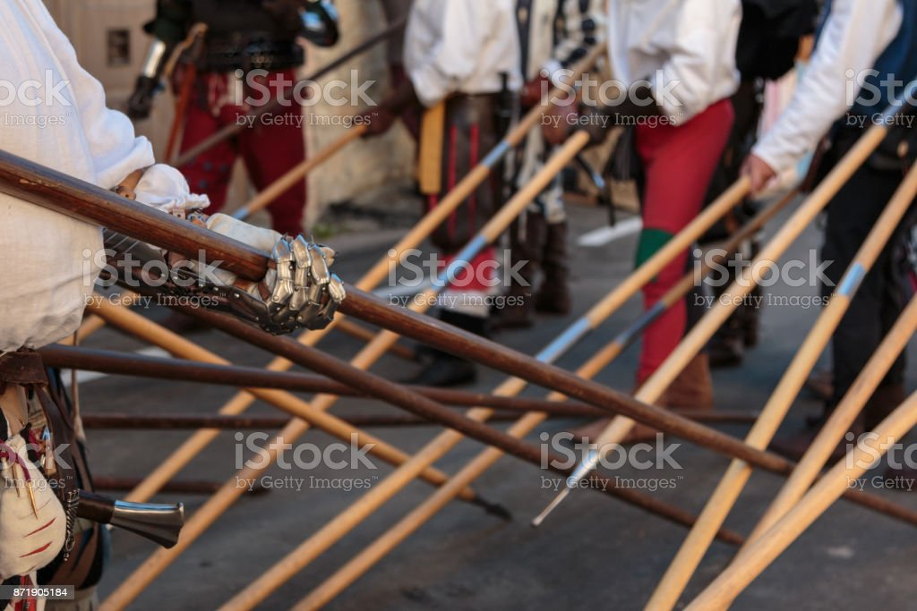 Fight with Medieval European Spears, Pole Weapons: Shafts and Pointed Heads stock photo