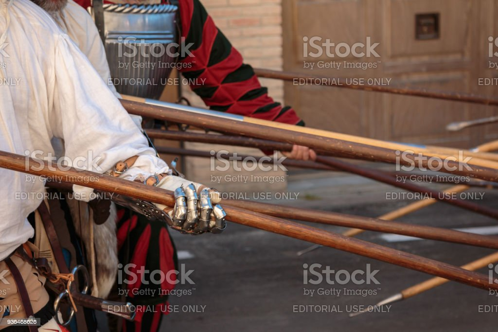 Fight With Medieval European Spears Pole Weapons Shafts And