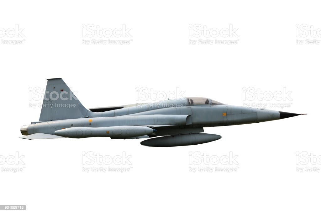 Fighter aircraft F-5A Freedom Fighterin full flight royalty-free stock photo
