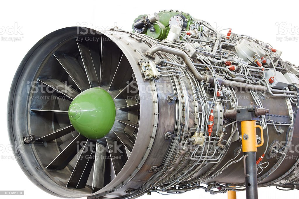 Fighter aircraft jet engine stock photo