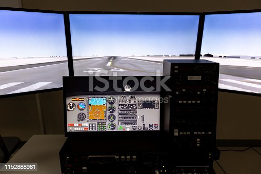 Fighter aircraft simulator training room. A flight simulator is a device that artificially re-creates aircraft flight and environment in which it flies, for pilot training, design, or other purposes.