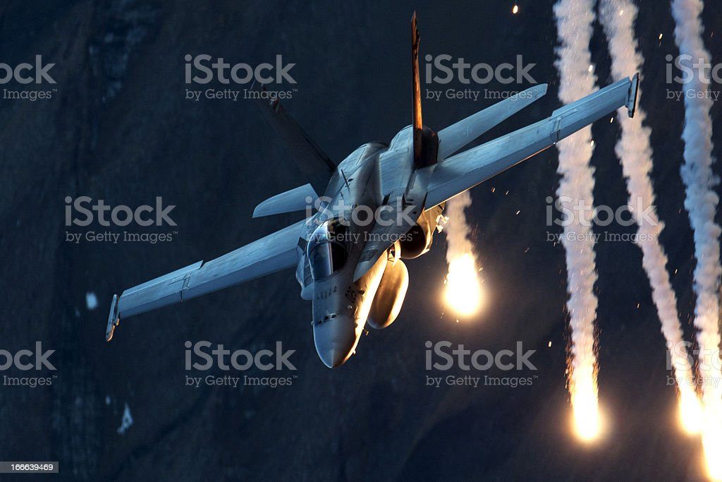 Fighter Aircraft Throwing Flares stock photo