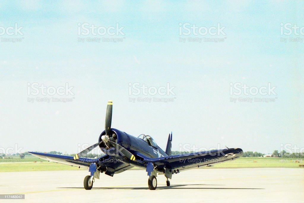 WWII fighter airplane F4U Corsair stock photo
