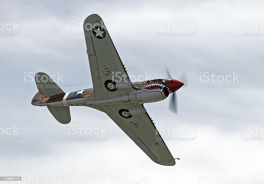 WWII fighter airplane stock photo