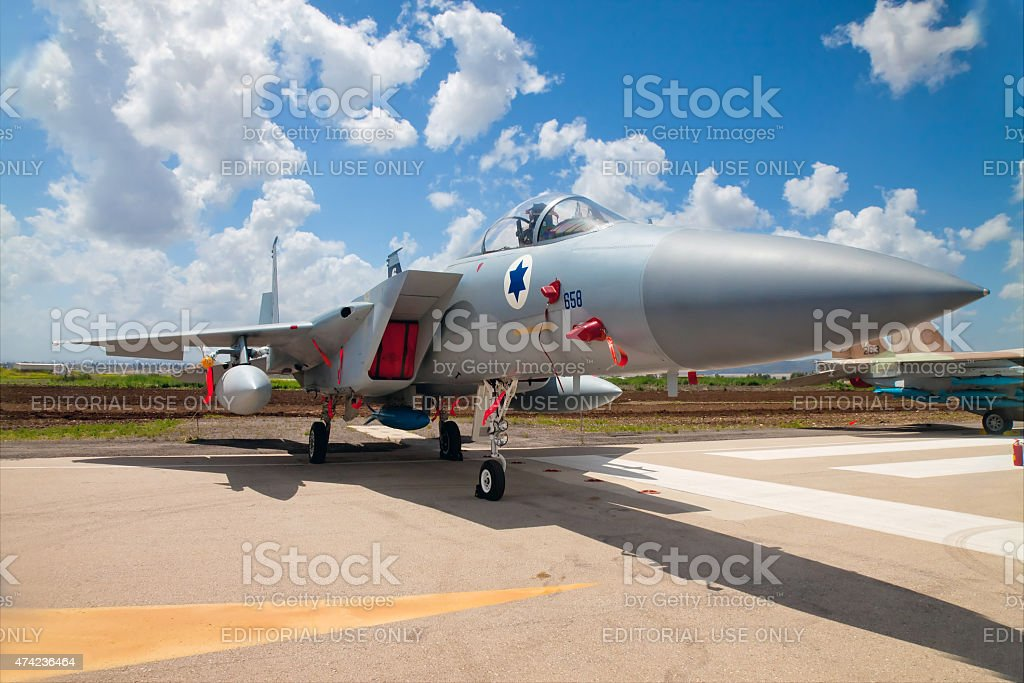 F-15 fighter at the exhibition for Independence Day stock photo