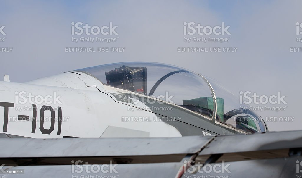 Fighter Cockpit And Wing stock photo