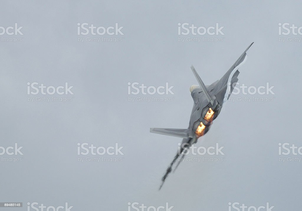 Fighter F-22 Raptor in airshow royalty-free stock photo
