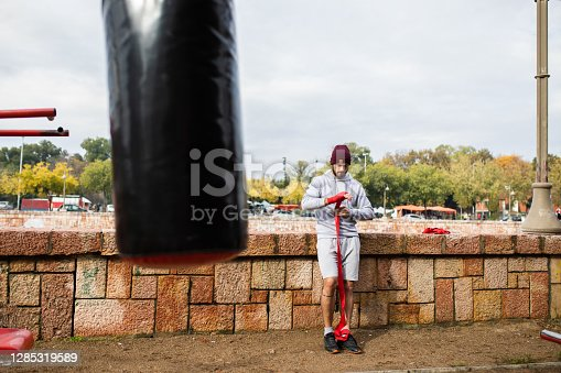 istock A fighter getting ready for a workout 1285319589