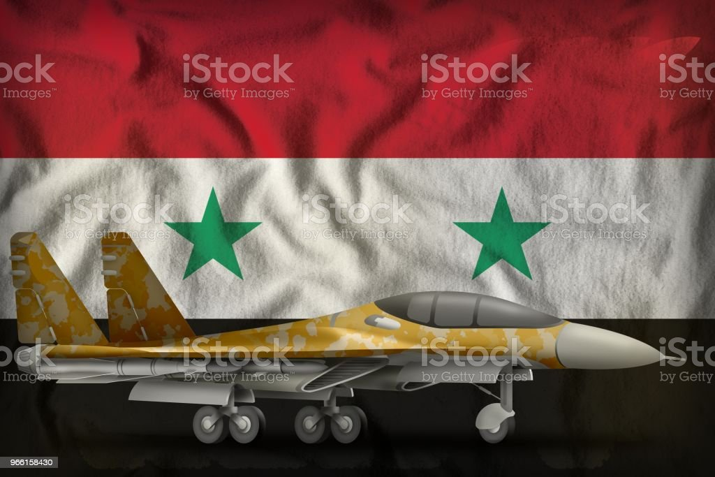 fighter, interceptor with desert camouflage on the Syrian Arab Republic state flag background. 3d Illustration - Royalty-free Ao Ar Livre Foto de stock