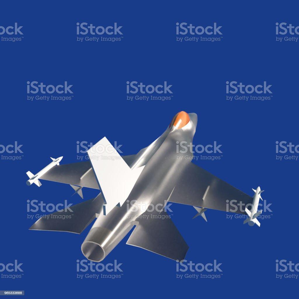 Fighter jet flying against a blue sky, 3d illustration zbiór zdjęć royalty-free