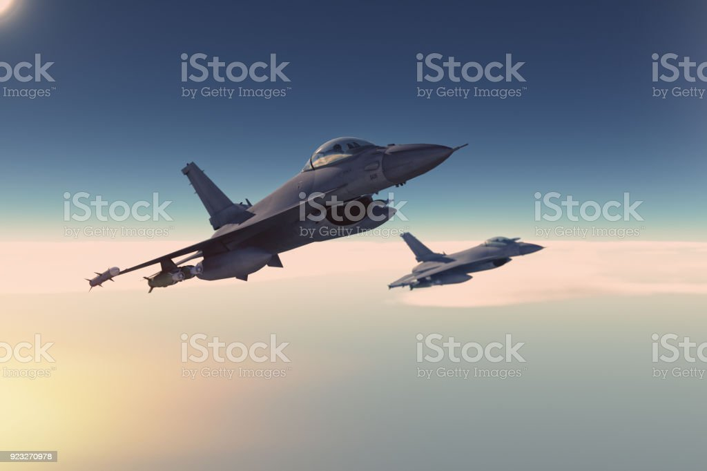 Fighter jet in action stock photo