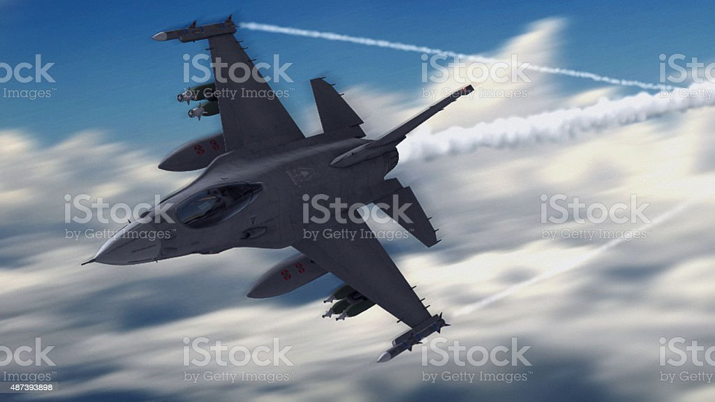 Fighter Jet in Atmosphere stock photo