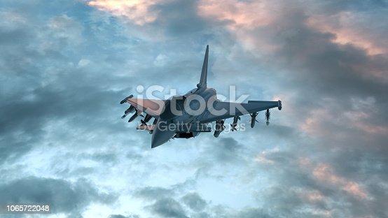 istock Fighter jet in the deep blue night sky. 3D render 1065722048