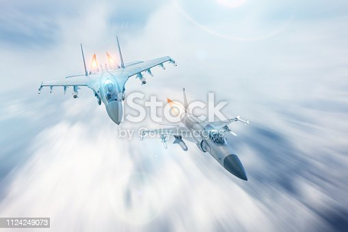 Fighter jet intercepts accompanies another fighter. Conflict, war. Aerospace forces