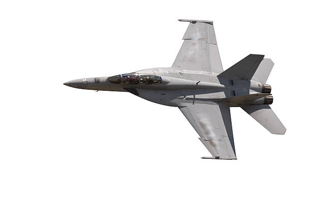 F-18 Fighter Jet Isolate on White F-18 Military Jet isolated on white. advanced tactical fighter stock pictures, royalty-free photos & images