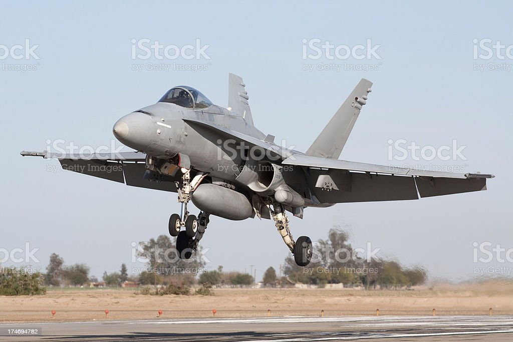 Fighter Jet Landing stock photo
