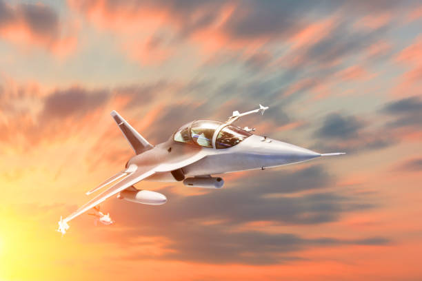 Fighter jet military speed maneuver in flight airforce base on sunset time. Fighter jet military speed maneuver in flight airforce base on sunset time supersonic airplane stock pictures, royalty-free photos & images