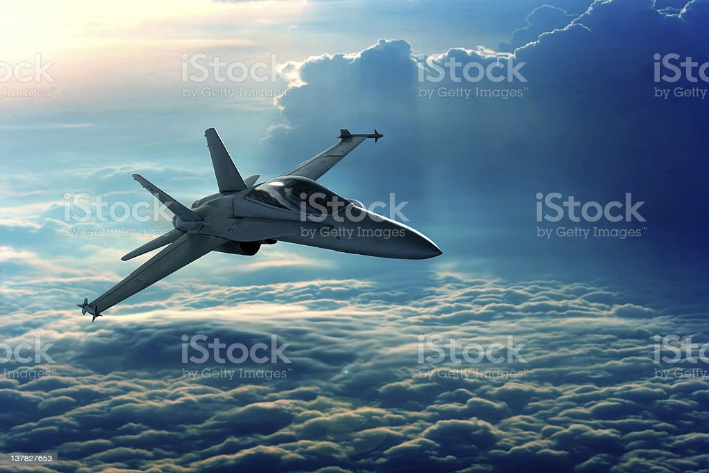 Fighter jet View of a fighter jet above the clouds Aerodynamic Stock Photo