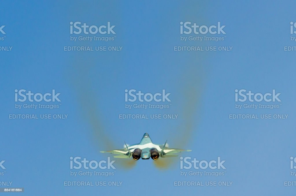 Fighter jet T-50 Russia, Moscow, airport Zhukovsky. August 28, 2015 stock photo