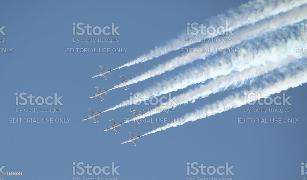fighter jets flying in formation royalty-free stock photo