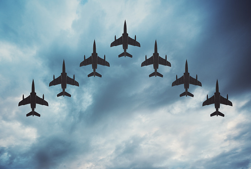 Fighter Jets In Formation Stock Photo - Download Image Now