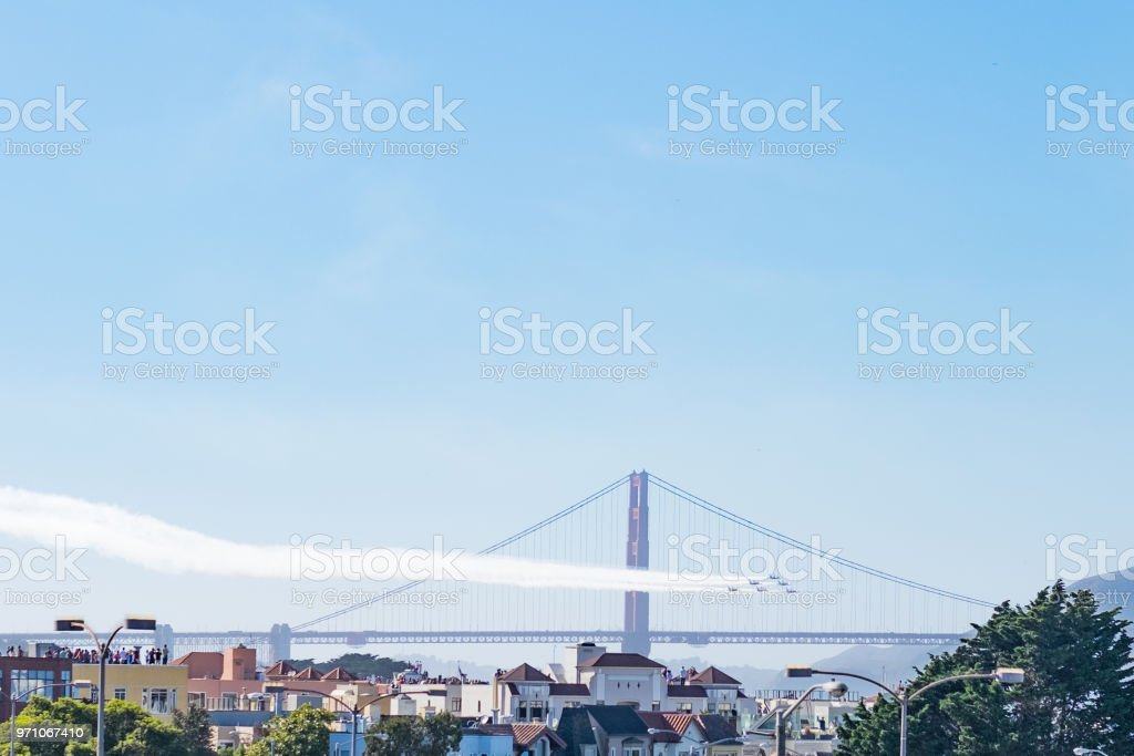 Fighter jets in formation with golden gate bridge in the background stock photo