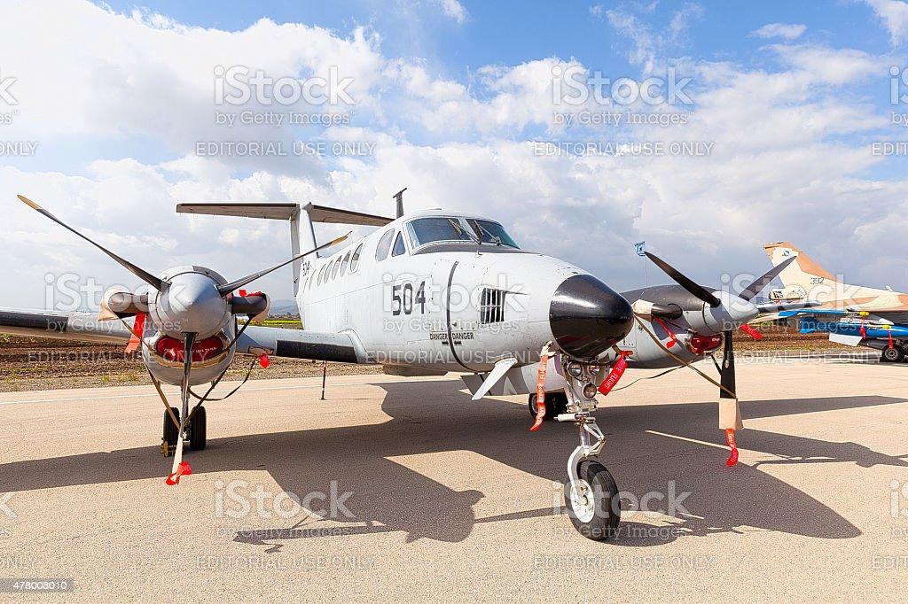 Fighter landed at Ramat David Israeli Air Force Base stock photo