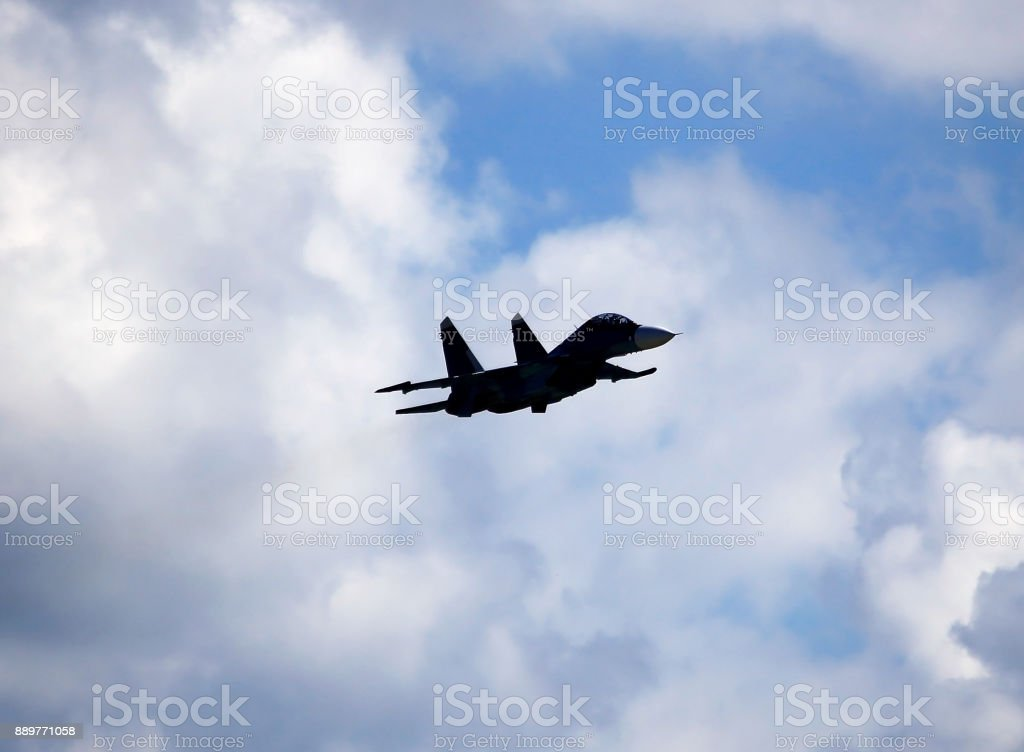 Fighter Mig 29 in sky stock photo