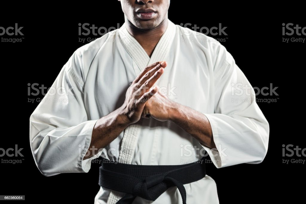 Fighter performing hand salute stock photo