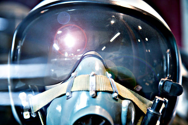 Fighter pilot helmet stock photo
