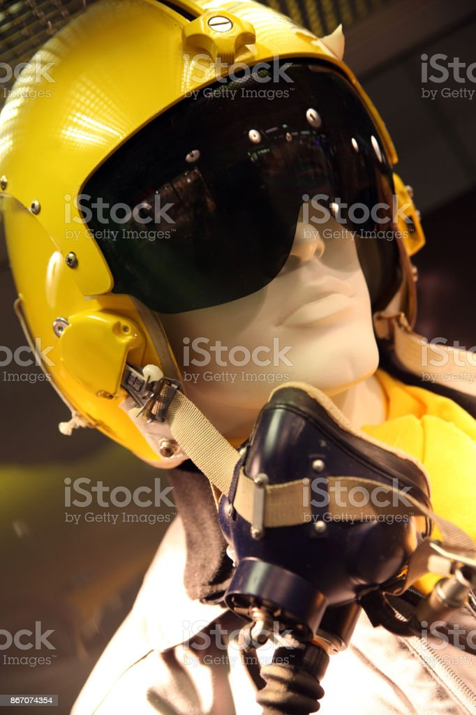 Fighter pilot helmet stock photo