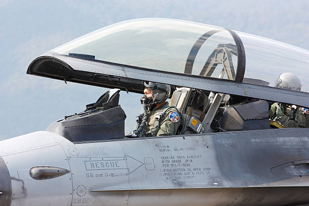 Fighter pilot stock photo