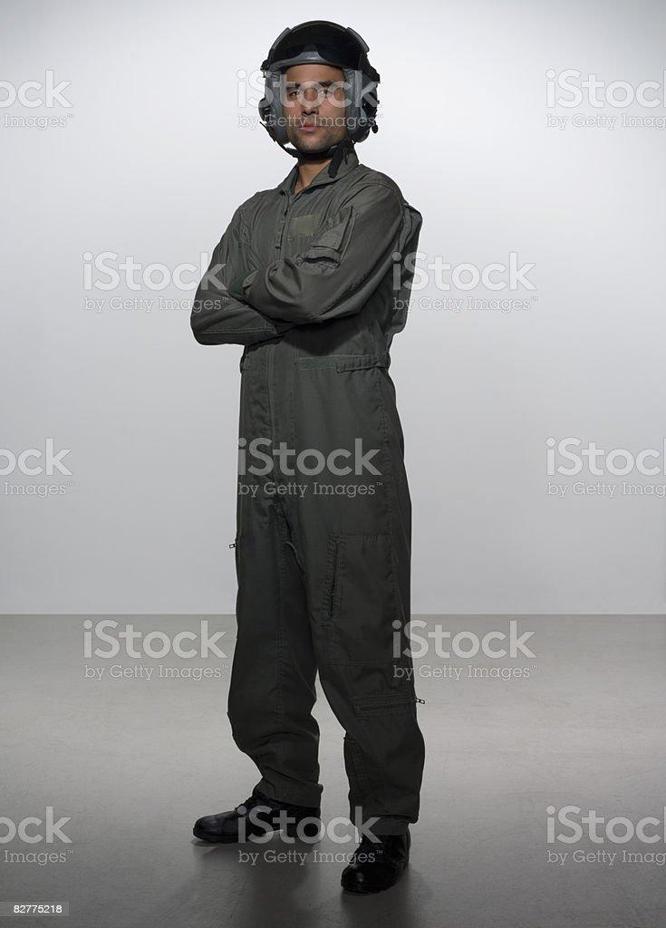 Ritratto di pilota di caccia, foto stock royalty-free