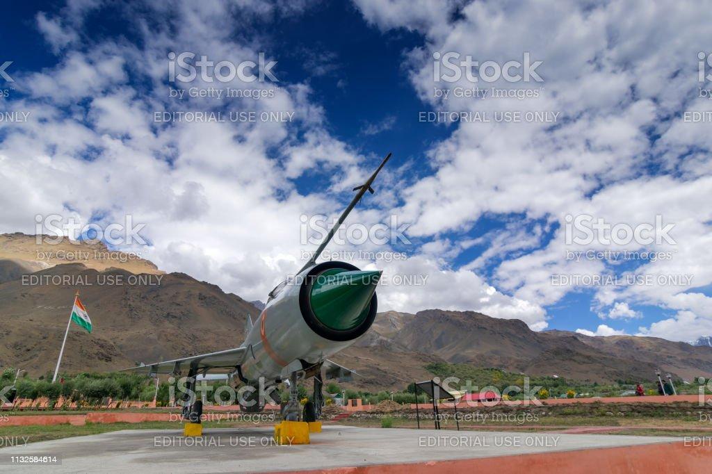 Ein MIG-21-Kampfflugzeug, das von Indien im Kargil-Krieg 1999 eingesetzt wurde (Operation Vijay) – Foto