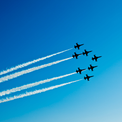 Fighter Planes In Airshow On Blue Sky Stock Photo - Download Image Now