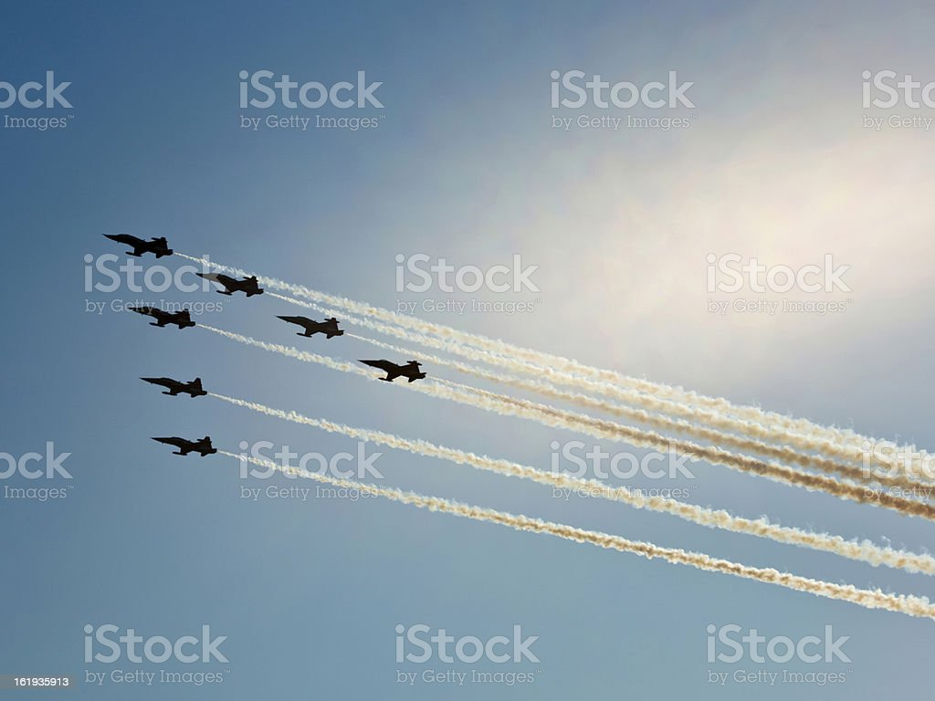 Fighter planes in airshow stock photo