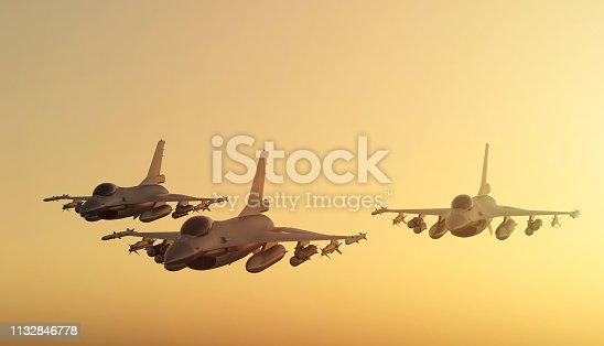 F-16 Fighter planes squadron flying in formation